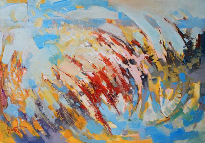 """Painting titled """"Curacao"""" by Henadzy Havartsou, Original Art, Oil Mounted on Stretcher frame"""