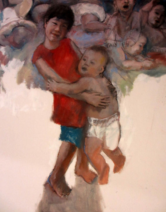 Sister Hugging & Playing Baby Brother 2013 - Painting ©2013 by M Yatim -
