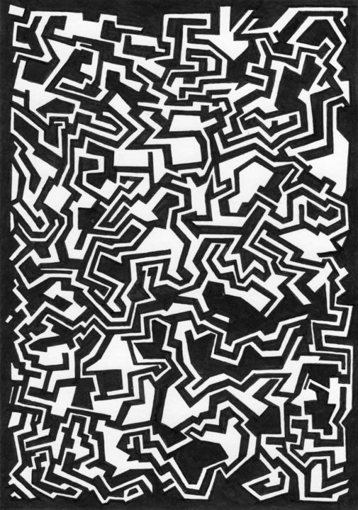 Sans titre - Drawing,  8.2x5.8 in, ©2019 by Hennel -                                                                                                                                                                                                                                                                                                                                                                                                                                                                                                                                                                                                                                                                                                                                                                                                                                                                                                                                                                                                      Abstract, abstract-570, Abstract Art, géométrique, géométrie, line, ligne, noir, blanc, black, white, graphic, graphism, abstract, abstrait, minimalisme, motif, doodle, pattern, zen, hypnotic