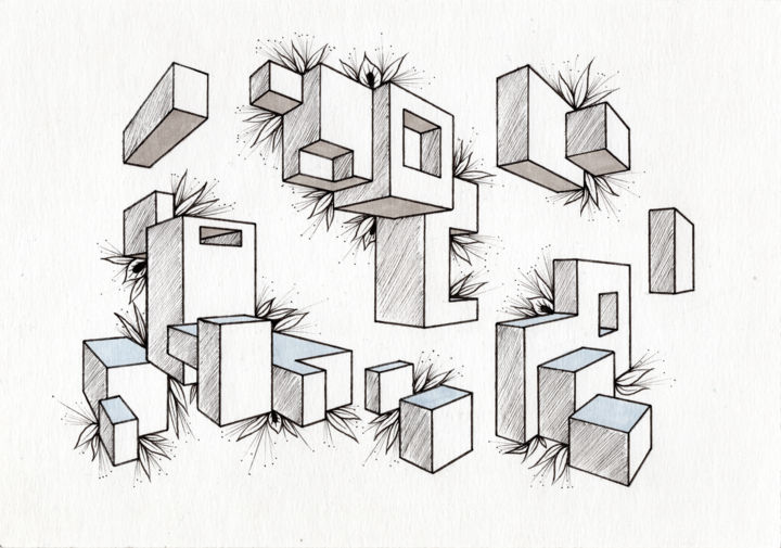 Sans titre - Drawing,  5.8x8.3 in, ©2019 by Hennel -                                                                                                                                                                                                                                                                                                                                                                                                                                                                                                                                                                                                                                                                                                                                                                                                                                                                                                                                                                                                      Abstract, abstract-570, Abstract Art, graphic, graphisme, graphique, cubes, cube, floral, vegetal, doodle, minimal, minimalisme, simple, design, fineline, marqueur, stylo, abstrait, abstract, abstraction