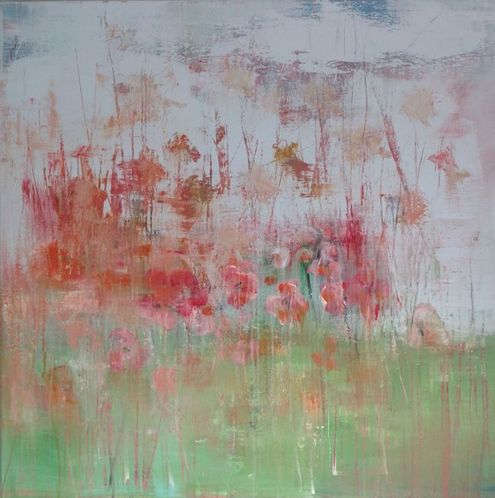 """Painting titled """"Poppies"""" by hennievandelande, Original Art, Acrylic Mounted on Stretcher frame"""
