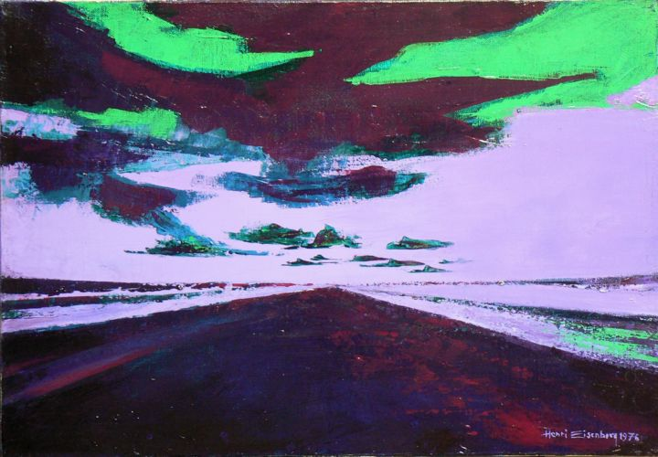 Route 2 - Painting,  15x21.7 in, ©1976 by Henri Eisenberg -                                                                                                                                                                                                                                                                                                                                                                                                                                                      Expressionism, expressionism-591, Automobile, Travel, Route, Vitesse, Vite, Déplacement, Voyage