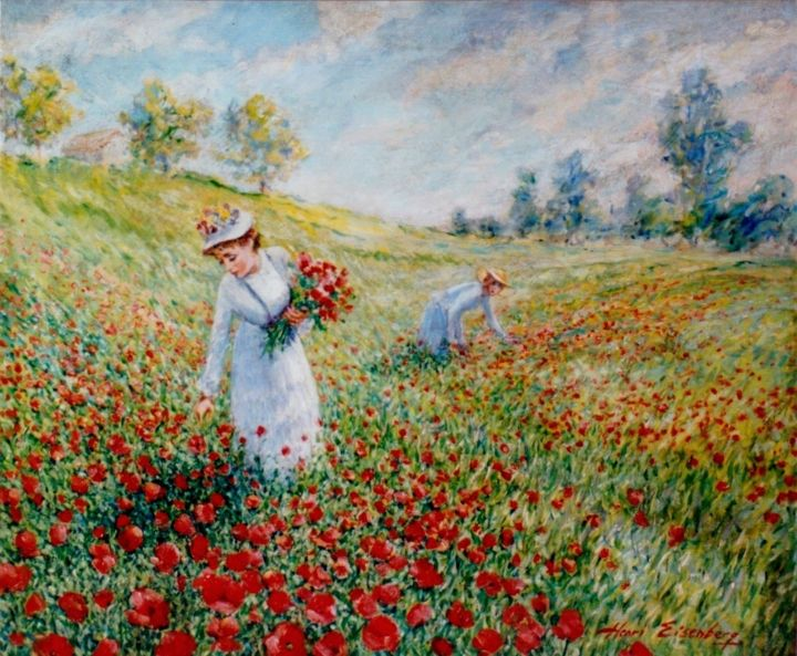 Coquelicots - Painting,  18.1x21.7 in, ©1988 by Henri Eisenberg -                                                                                                                                                                                                                                                                                                                                                                                                          Impressionism, impressionism-603, Flower, Nature, Landscape, Coquelicots, Cueilleuses, Champ fleuri