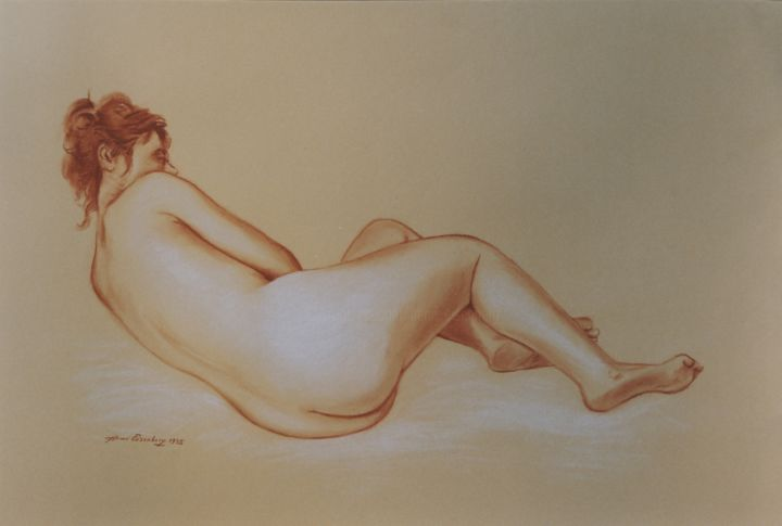 Nu M 2 - Drawing,  19.7x25.6 in, ©1995 by Henri Eisenberg -                                                                                                                                                                                                                      Classicism, classicism-933, Women, Nude