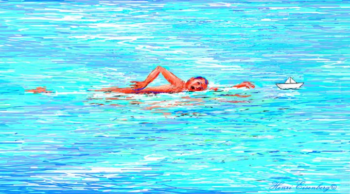 Nageur - Digital Arts, ©2017 by Henri Eisenberg -                                                                                                                                                                                                                                                                                                                                                                                                                                                                                                                                                                                                                                                                                  Expressionism, expressionism-591, Seascape, Health & Beauty, Spirituality, Sports, Travel, Natation, Nage, Crawl, Bateau de papier, Rêve, Cible, Le sens de la vie