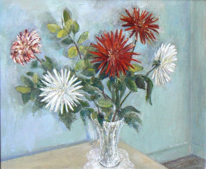 Dahlias - Painting,  21.3x25.6 in, ©1963 by Henri Eisenberg -                                                                                                                                                                                                                                                                                                                  Figurative, figurative-594, Flower, Dahlias, Bouquet, Vase de fleurs