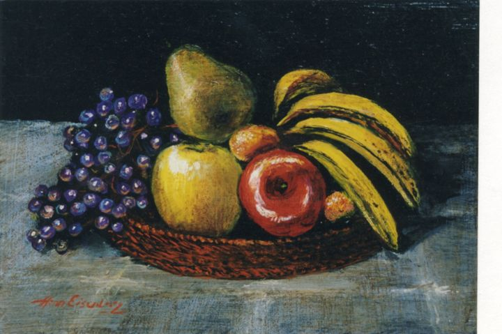 Fruits - Painting,  4.3x6.3 in, ©1985 by Henri Eisenberg -                                                                                                                                                                          Figurative, figurative-594, Still life