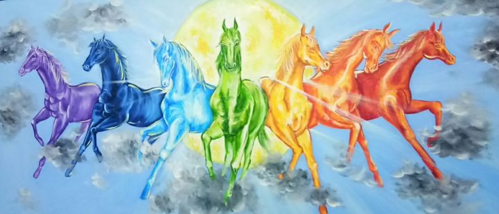 7 Horses Of The Sun Godjpg Painting By Herendra Swarup Artmajeur