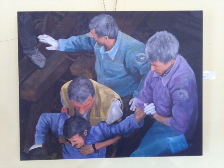 Heroes of Amatrice - Painting,  31.5x39.4x0.4 in, ©2017 by Heribert Wagner -