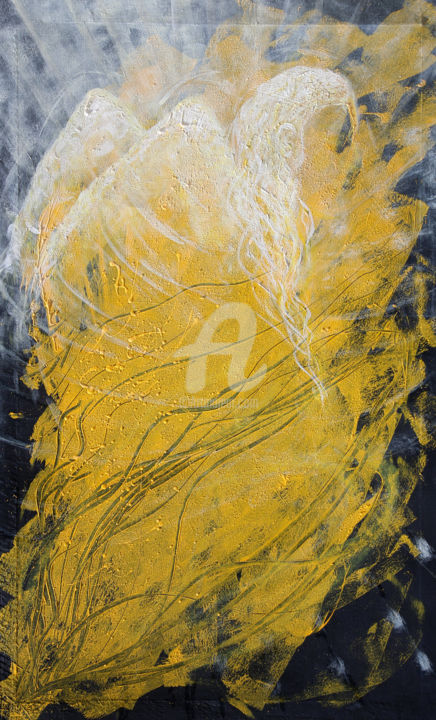 1-2-leis-yellow-angel.jpg - Painting,  140x84x3 cm ©2014 by BEAUTY HEART CONCEPTS -                                                        Contemporary painting, Canvas, Religion