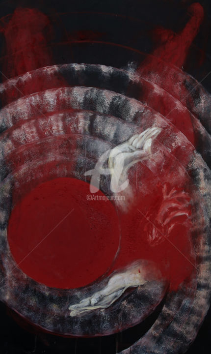 1-3-leis-red-angel.jpg - Painting,  55.1x33.1x1.2 in, ©2014 by Beauty Heart Concepts -                                                              Religion