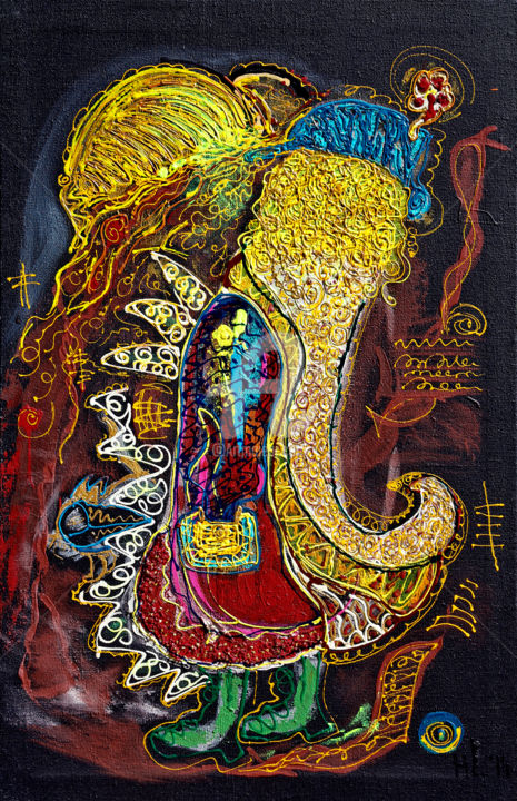 2-2-leis-happy-ganesh.jpg - Painting,  130x84x4 cm ©2014 by Hermine Leis -                                                        Contemporary painting, Canvas, Love / Romance