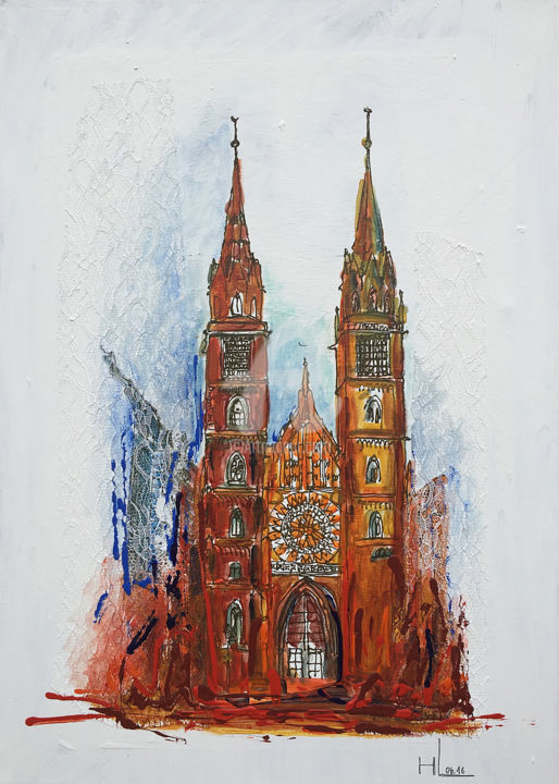 5-7-leis-nuernberg-lorenzkirche.jpg - Painting,  27.6x19.7x1.2 in, ©2016 by BEAUTY HEART CONCEPTS -                                                              Nürnberg