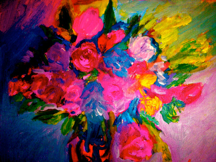 """Painting titled """"Fleurs roses intens…"""" by Madeleine Gendron, Original Art,"""