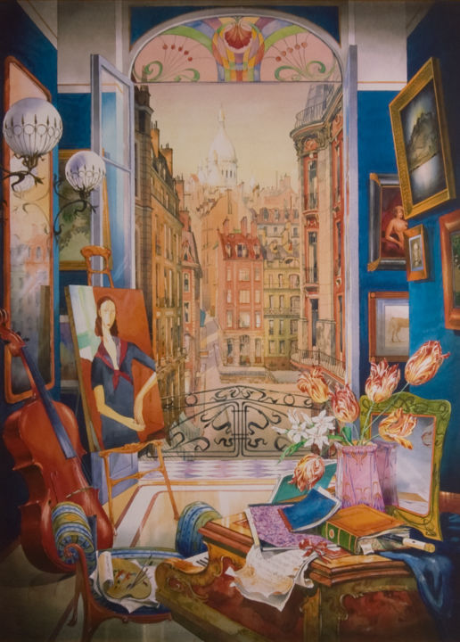 """Painting titled """"Paris (Print)"""" by Andrew Sievright, Original Art, Watercolor"""
