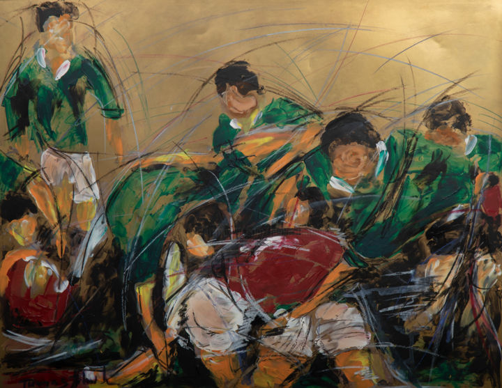 la mélée - Painting,  61x81 cm ©2000 by Herve THOMAS-MITON -                                                                                    Figurative Art, Contemporary painting, Paper, Sports, Men, sport, rugby, mouvement, action, populaire, sportif, male, viril