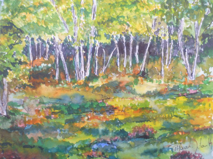 Bruyères - Painting,  24x30 cm ©2014 by Herve THOMAS-MITON -                                                            Figurative Art, Paper, Nature, nature, foret, automne, couleurs, bruyere, fontainebleau, paysage, balade