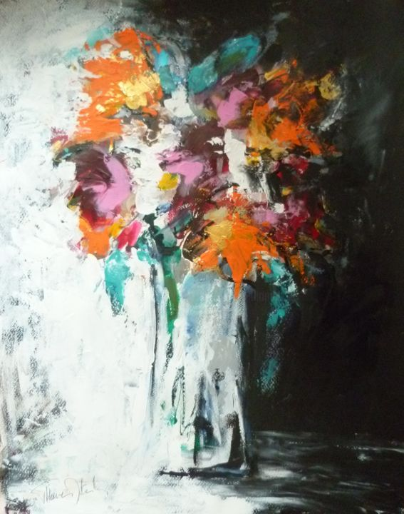 Dalhias - Peinture,  25,6x19,7x0,4 in, ©2019 par Herve THOMAS-MITON -                                                                                                                                                                                                                                                                                                                                                                                                                                                                                                                                                                                                                                      Abstract, abstract-570, Art abstrait, Arts de la scène, Botanique, Fleur, Nature morte, fleurs;, couleurs, dalhias, automne, bouquet, nature