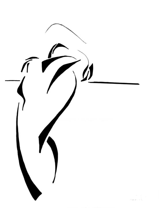 2 - Dessin,  25,6x19,7 in, ©2020 par Herve Thomas-Miton -                                                                                                                                                                                                                                                                                                                                                              Abstract, abstract-570, Corps, Nu, femmes, mouvement, pose