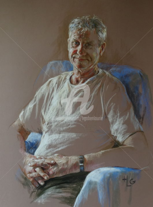 Raymond ou l'homme tranquille - Painting,  35.4x27.6 in, ©2014 by Helene Gaben Laurié -                                                                                                                                                                                                                          Expressionism, expressionism-591, Portraits, homme repos sourire tranquilité