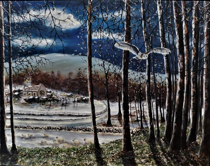 """Painting titled """"Frost At Midnight"""" by Hazel Thomson, Original Art, Oil"""
