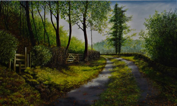 """Painting titled """"End Of Summer"""" by Hazel Thomson, Original Art, Oil"""
