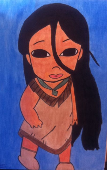 """Painting titled """"Pocahontas baby"""" by Lallene, Original Art, Gouache"""
