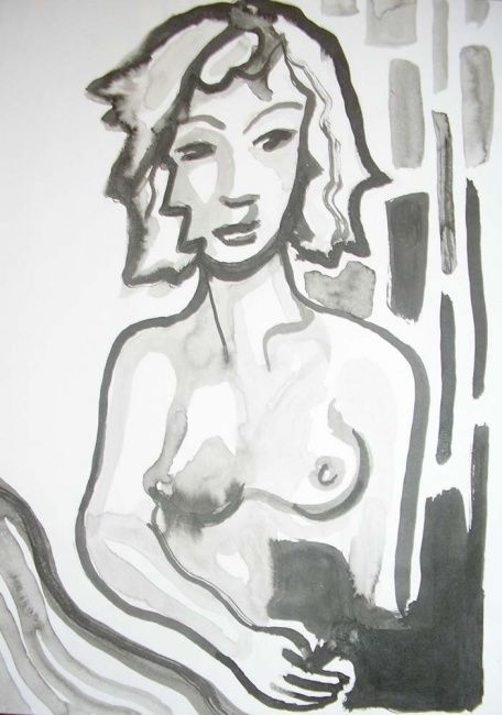 nue - Drawing,  11.4x8.3 in, ©2001 by uriel vallois -
