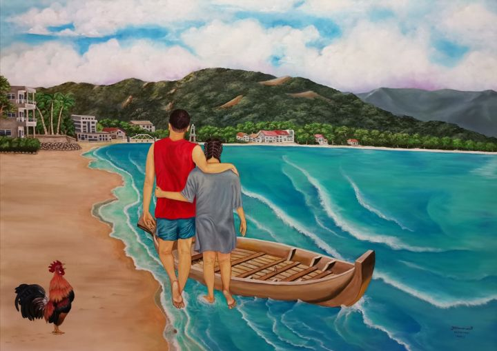 """Painting titled """"New day at the seas…"""" by Francis Eric Dimarucut, Original Art, Acrylic"""