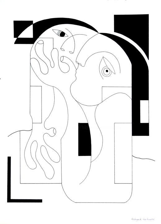 Mystery - Drawing,  75x56x1 cm ©2018 by Hildegarde Handsaeme -                                                                                                                                                                        Abstract Art, Contemporary painting, Figurative Art, Minimalism, Modernism, Paper, Abstract Art, Geometric, Love / Romance, Men, People, Women, powerful, drawing, original, black and white, pure, line