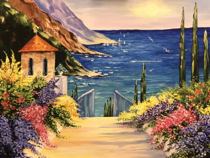 """Painting titled """"Italy"""" by Shaye Hirsch, Original Art, Acrylic"""