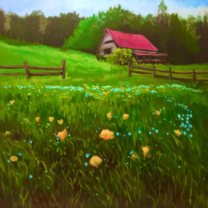 """Painting titled """"Red Roof and Wildfl…"""" by Hilary J England, Original Art, Oil"""
