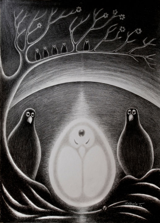 The Cosmic Egg No 2 - Drawing,  70x50x2 cm ©2017 by Hjördis Thelander -                                                                                    Surrealism, Paper, Birds, Animals, Spirituality, Bird, Egg, Earth, Heaven, flower, light