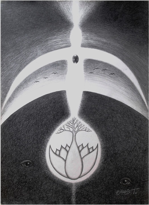 The Cosmic Egg No 3 - Drawing,  70x50x2 cm ©2017 by Hjördis Thelander -                                                                        Surrealism, Paper, Birds, Spirituality, Birds, Earth, Egg, Threee, flower, light