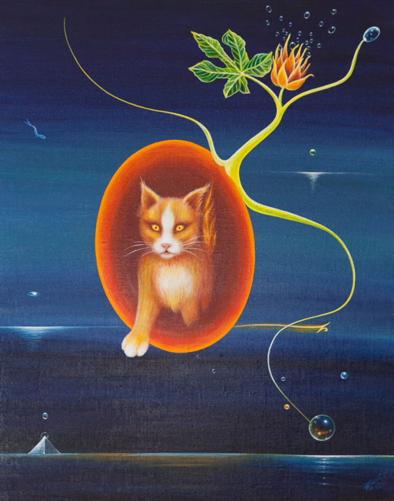 Tusse walks through the dimensions.jpg - Painting,  80x65x4 cm ©2018 by Hjördis Thelander -                                                            Surrealism, Canvas, Cats, cat, dimension, pyramid, fig, plant, flower, sea