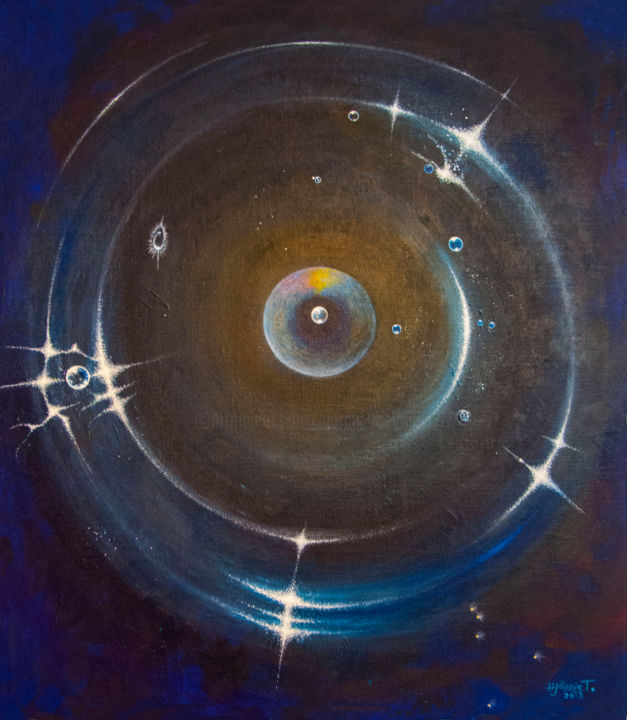 cosmos.jpg - Painting,  80x80x3 cm ©2015 by Hjördis Thelander -                                                            Surrealism, Canvas, Outer Space, cosmos, planet, cirkle, stars, turning, gold