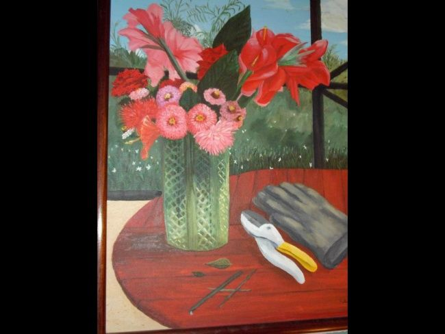 Bouquet by the Pool - Painting,  16x20 in ©2012 by jose' -                            Contemporary painting, vase of flowers on picnic table by the pool