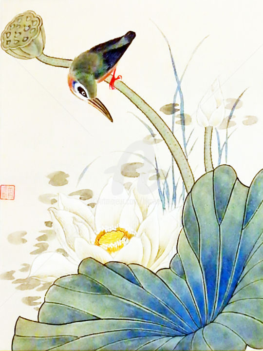 """Painting titled """"Bird on Lotus"""" by Clement Tsang, Original Art, Watercolor"""