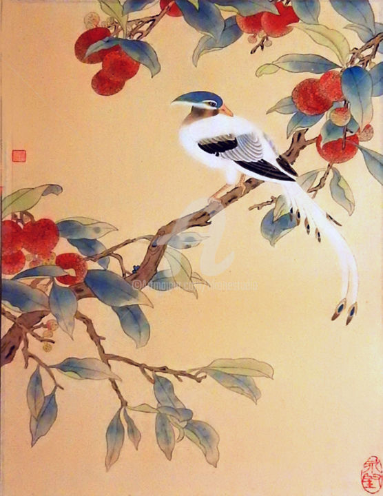 """Painting titled """"Colourful Bird on L…"""" by Clement Tsang, Original Art, Watercolor"""