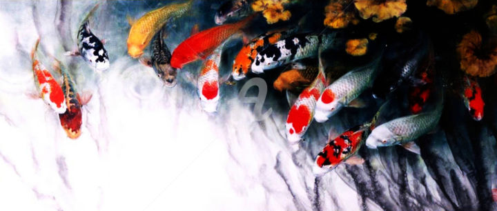 """Painting titled """"Golden Fishes"""" by Clement Tsang, Original Art, Watercolor"""