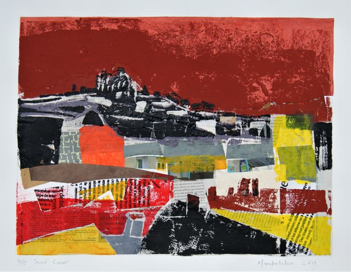 Sacré Coeur 4/5 - Printmaking,  11.8x15.8 in, ©2019 by Hervé Marchelidon -                                                                                                                                                                          Expressionism, expressionism-591, Cityscape