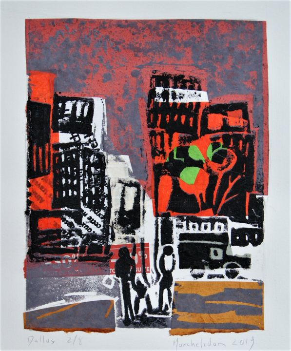 Dallas 2/8 - Printmaking,  7.9x5.9 in, ©2019 by Hervé Marchelidon -                                                                                                                                                                                                                      Expressionism, expressionism-591, Cityscape, Cities