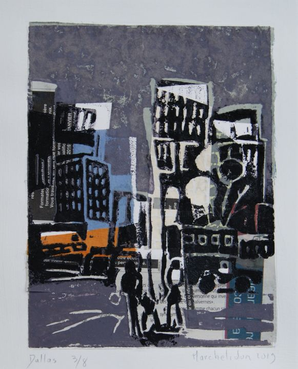 Dallas 3/8 - Printmaking,  7.9x5.9 in, ©2019 by Hervé Marchelidon -                                                                                                                                                                                                                      Expressionism, expressionism-591, Cityscape, Cities