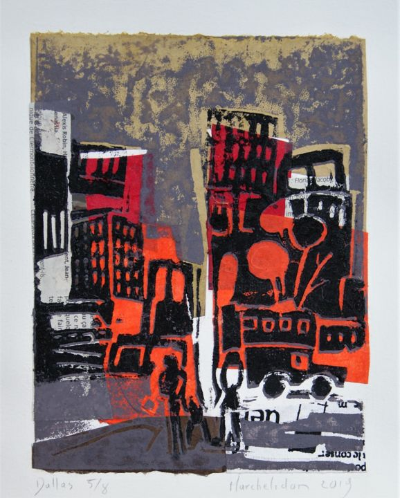 Dallas 5/8 - Printmaking,  7.9x5.9 in, ©2019 by Hervé Marchelidon -                                                                                                                                                                                                                      Expressionism, expressionism-591, Cityscape, Cities