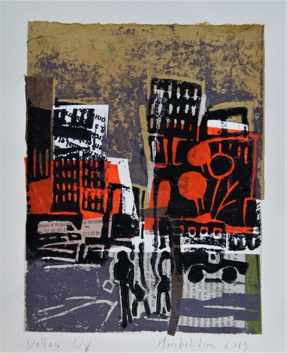 Dallas 6/8 - Printmaking,  7.9x5.9 in, ©2019 by Hervé Marchelidon -                                                                                                                                                                                                                      Expressionism, expressionism-591, Cityscape, Cities