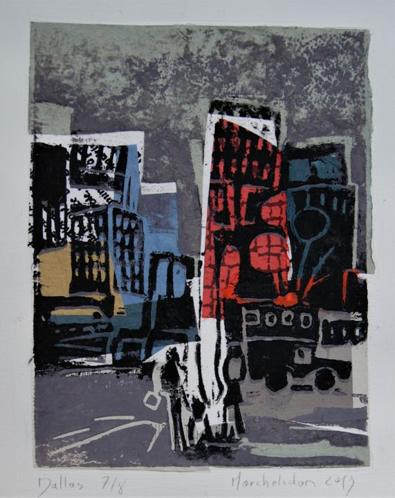Dallas 7/8 - Printmaking,  7.9x5.9 in, ©2019 by Hervé Marchelidon -                                                                                                                                                                                                                      Expressionism, expressionism-591, Cityscape, Cities