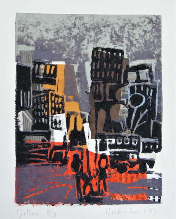 Dallas 8/8 - Printmaking,  7.9x5.9 in, ©2019 by Hervé Marchelidon -                                                                                                                                                                                                                      Impressionism, impressionism-603, Cityscape, Cities