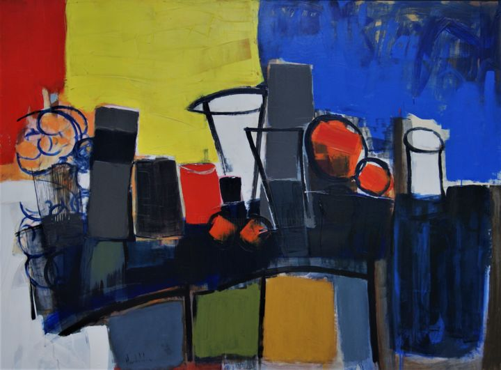 Hommage à Mondrian - Painting,  35.4x48x0.4 in, ©2020 by Hervé Marchelidon -                                                                                                                                                                          Expressionism, expressionism-591, Still life