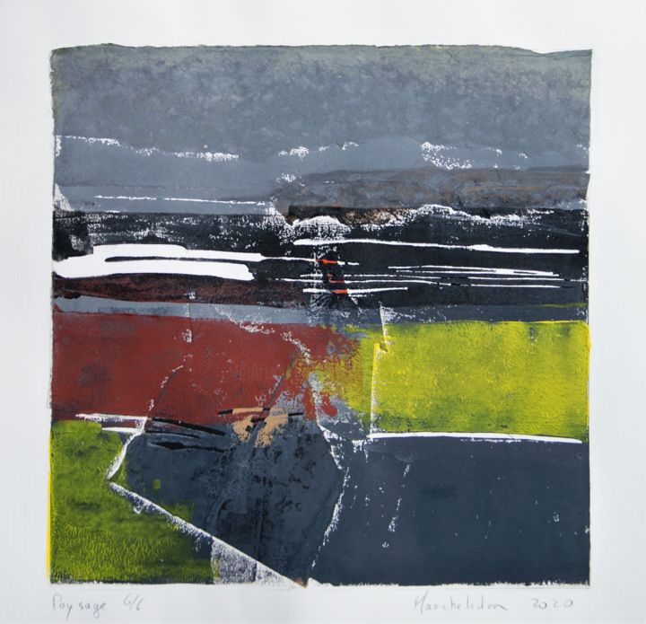 Paysage 6/6 - Printmaking,  11.8x11.8 in, ©2020 by Hervé Marchelidon -                                                                                                                                                                          Expressionism, expressionism-591, Landscape