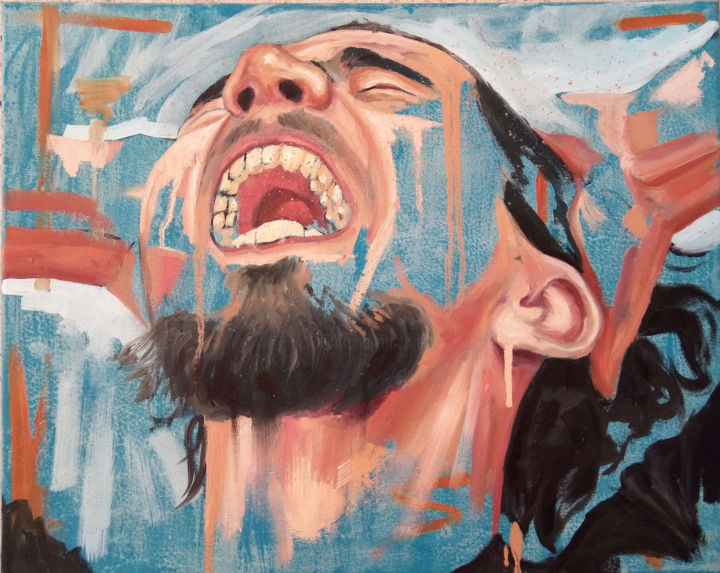 self-portrait OULMI HOCINE - Painting,  40x30 cm ©2018 by oulmi hocine -                                                                                                Conceptual Art, Contemporary painting, Expressionism, Figurative Art, Canvas, Portraits, ANGER, Anxiety, violence, screaming, cry, portrait